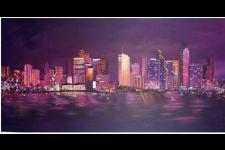 """San Diego Skyline  (acrylic on canvas, 48"""" x 18"""")"""